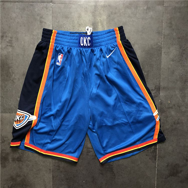 Cheap Men NBA Oklahoma City Thunder Blue Nike Shorts 0416