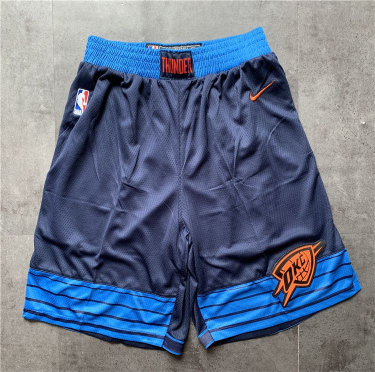 Cheap Men NBA Oklahoma City Thunder Blue Shorts 0416