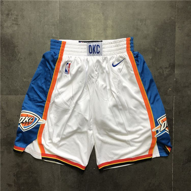 Cheap Men NBA Oklahoma City Thunder White Nike Shorts 0416