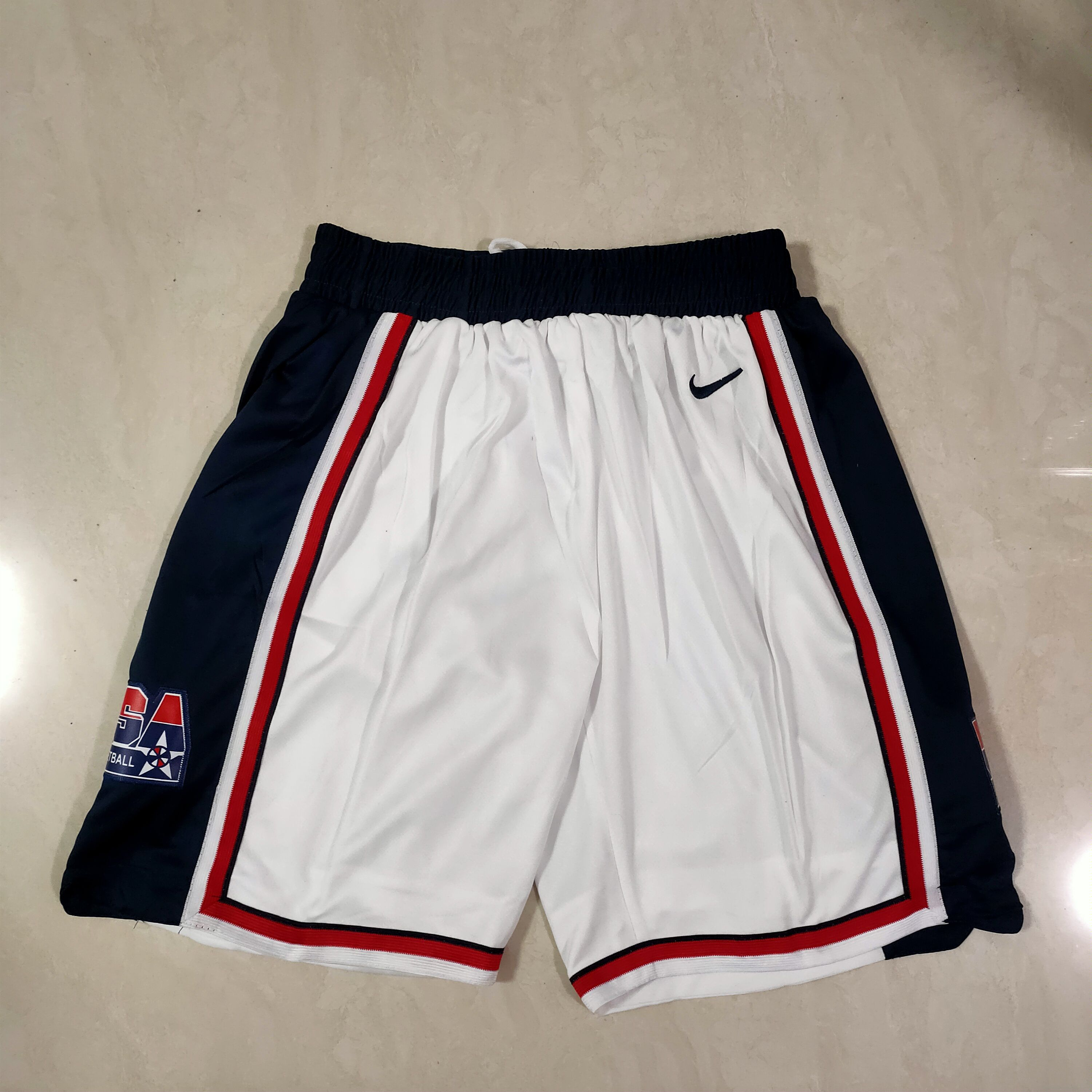 Cheap Men NBA USA White Shorts 0416