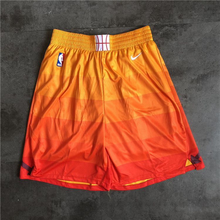 Cheap Men NBA Utah Jazz yellow Nike Shorts 0416
