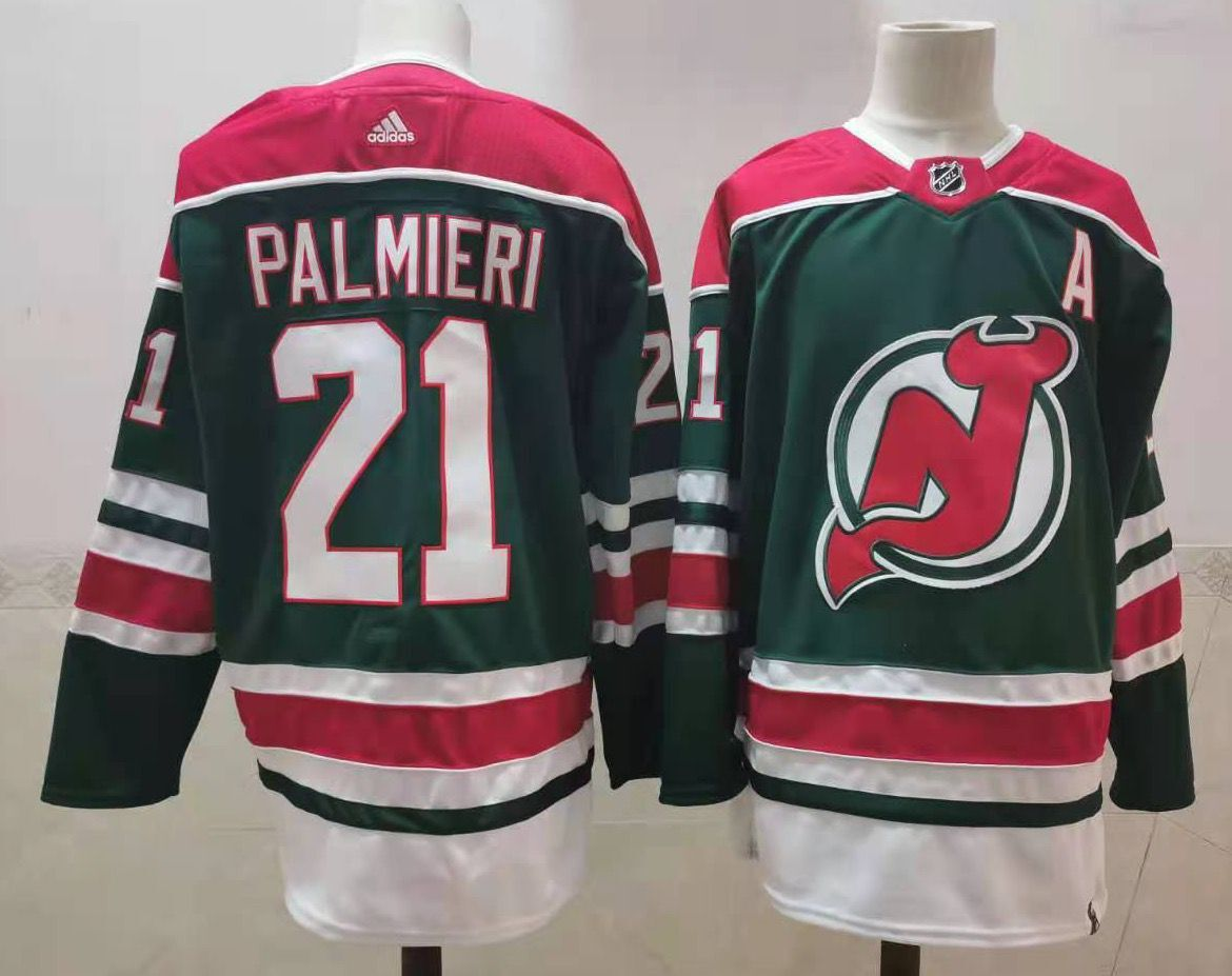 Cheap Men New Jersey Devils 21 Palmieri Green Throwback Stitched 2021 Adidias NHL Jersey