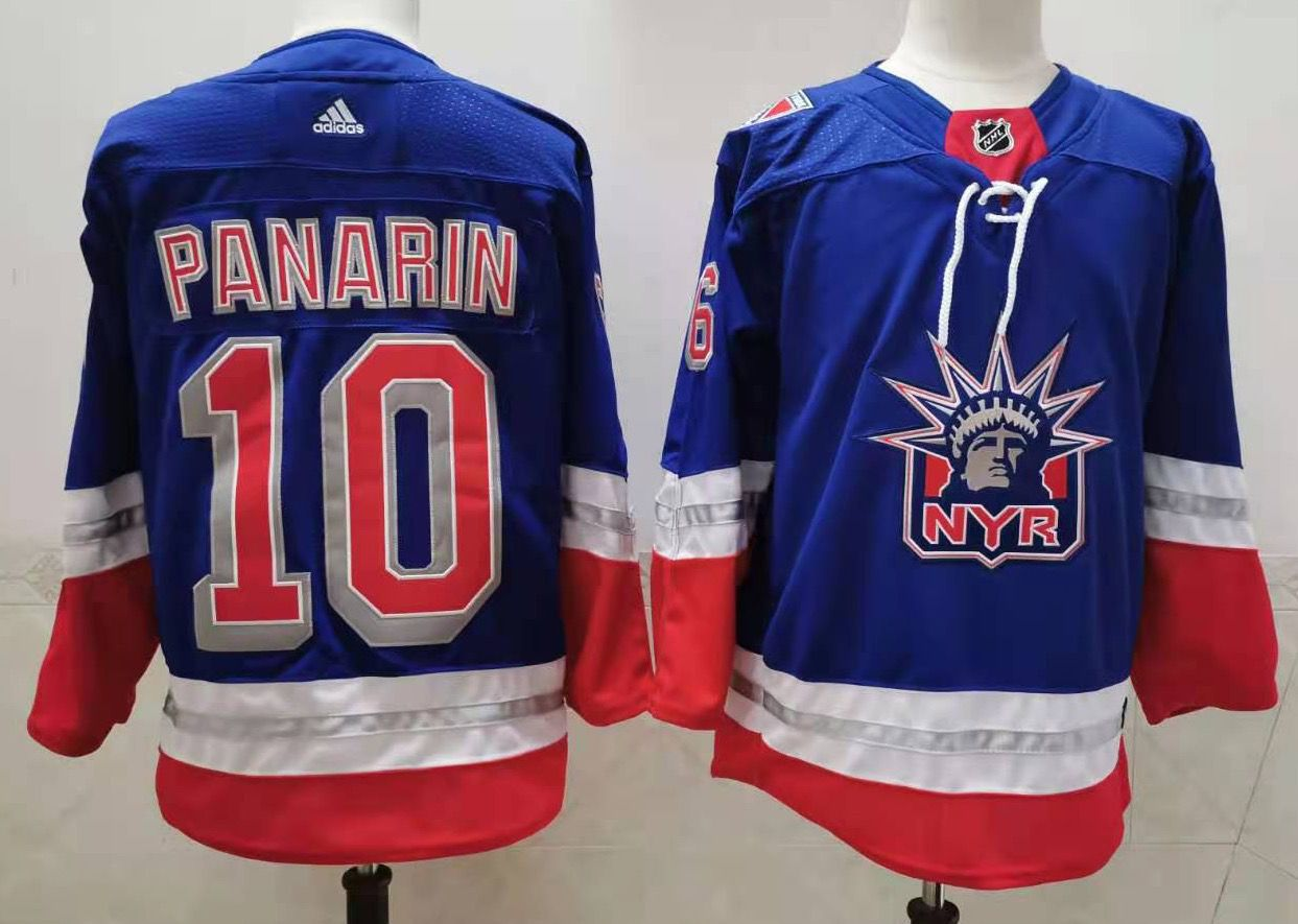 Cheap Men New York Rangers 10 Panarin Blue Authentic Stitched 2021 Adidias NHL Jersey