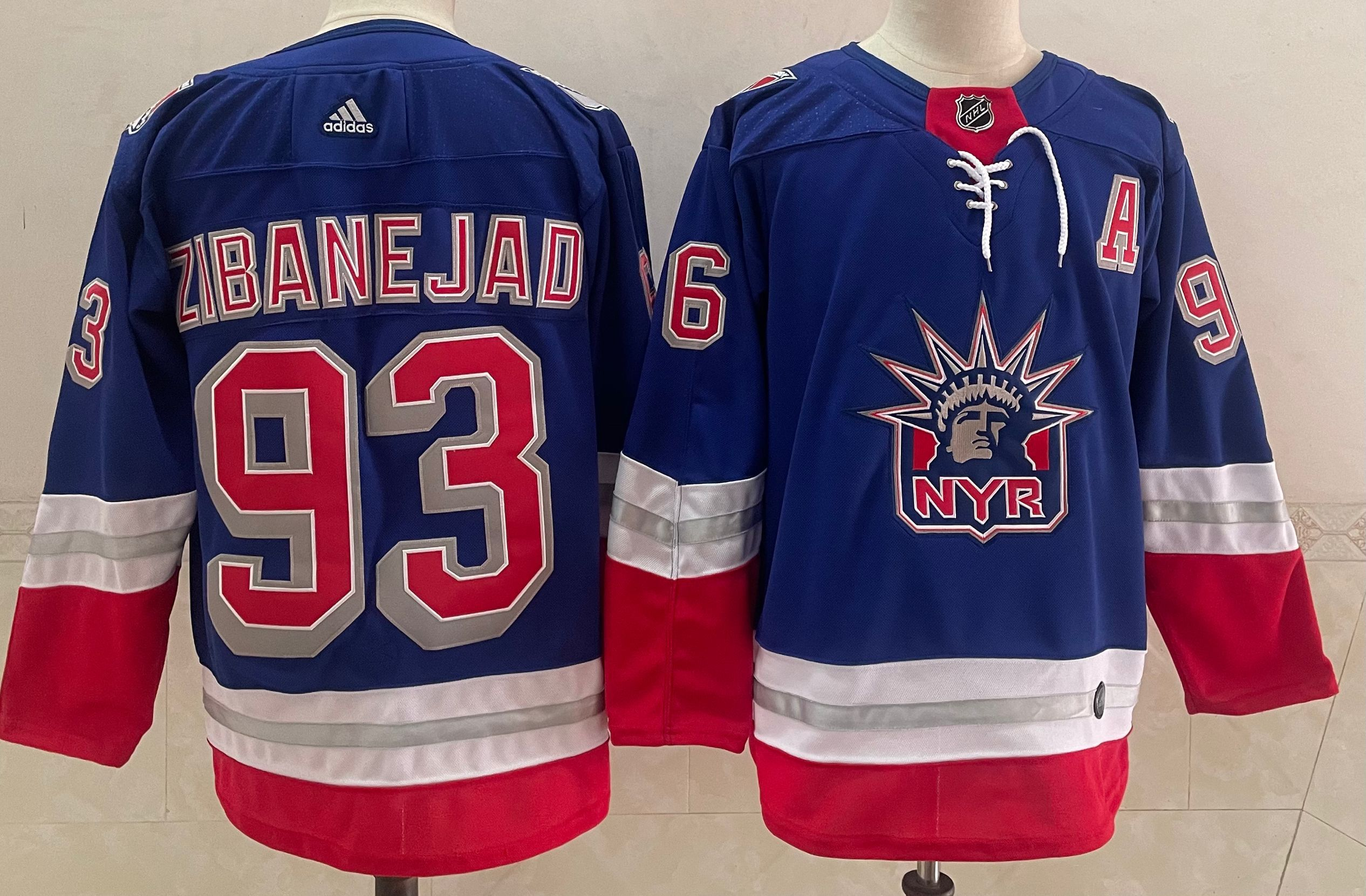 Wholesale Men New York Rangers 93 Zibanejad Blue Authentic Stitched 2021 Adidias NHL Jersey
