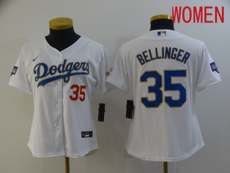 Cheap Women Los Angeles Dodgers 35 Bellinger White Game 2021 Nike MLB Jersey