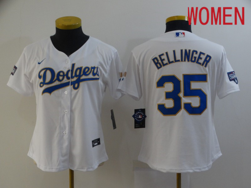 Cheap Women Los Angeles Dodgers 35 Bellinger White Game 2021 Nike MLB Jersey1