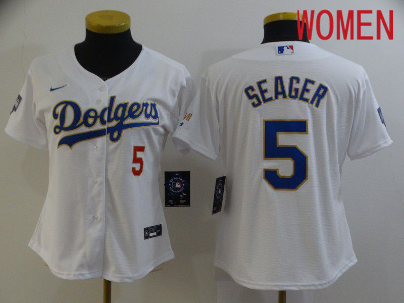Cheap Women Los Angeles Dodgers 5 Seager White Game 2021 Nike MLB Jersey1