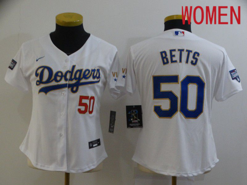 Cheap Women Los Angeles Dodgers 50 Betts White Game 2021 Nike MLB Jersey
