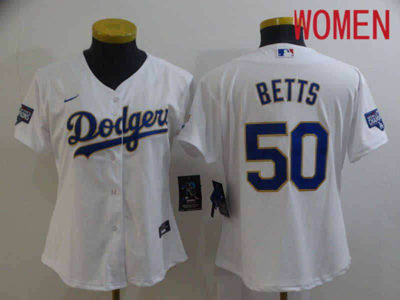 Cheap Women Los Angeles Dodgers 50 Betts White Game 2021 Nike MLB Jersey1