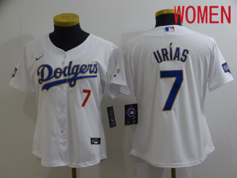 Cheap Women Los Angeles Dodgers 7 Urias White Game 2021 Nike MLB Jersey