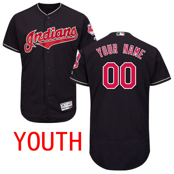 Cheap Youth Cleveland Indians Majestic Alternate Navy Blue Flex Base Authentic Collection Custom MLB Jersey