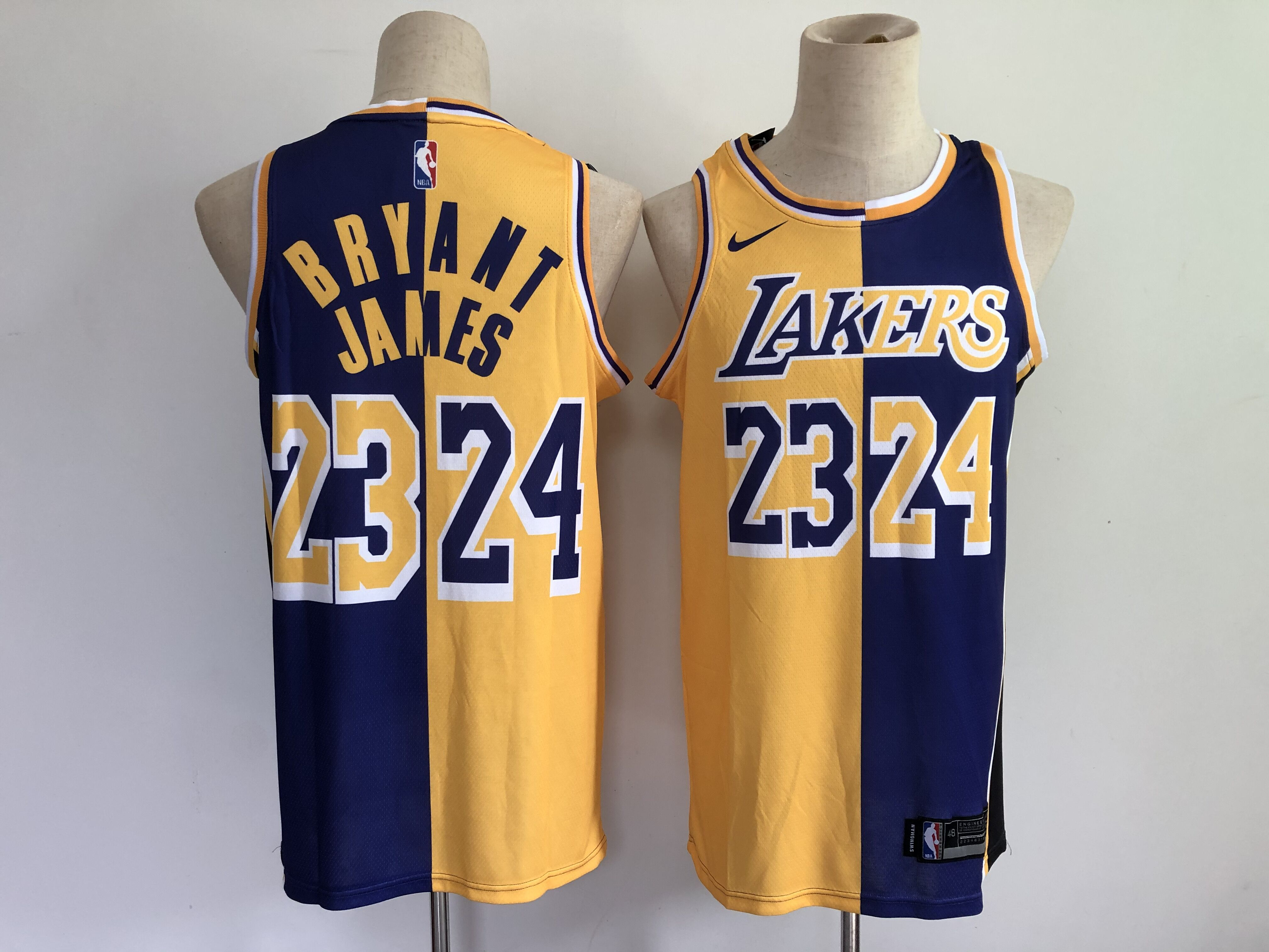 Wholesale 2021 Men Los Angeles Lakers 23 James purple gold kobe bryant split special mamba and la king jersey