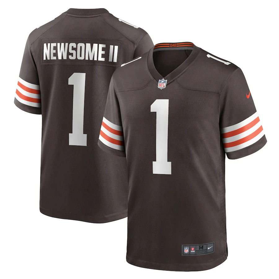 Cheap Custom Mens Cleveland Browns 1 Gregory Newsome II Nike Brown 2021 NFL Draft First Round Pick Game Jersey