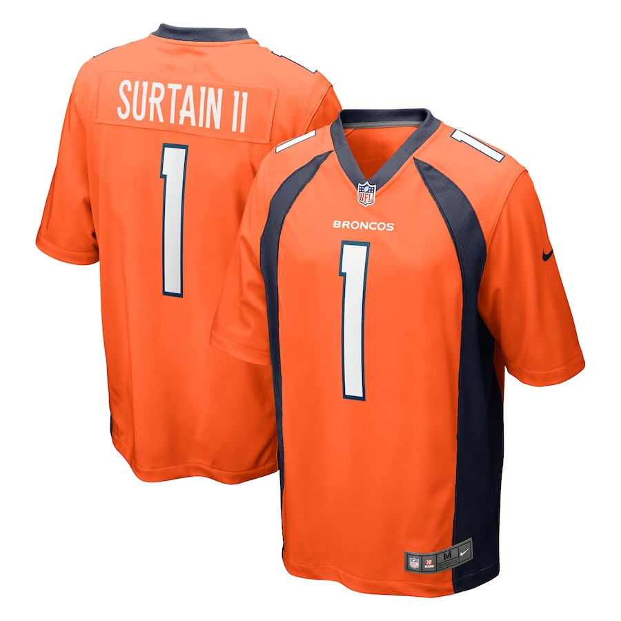 Cheap Custom Mens Denver Broncos 1 Patrick Surtain II Nike Orange 2021 NFL Draft First Round Pick Game Jersey