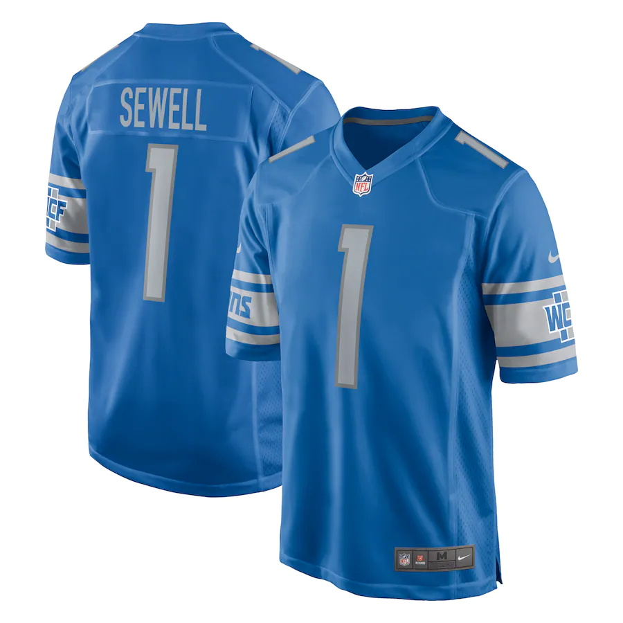 Cheap Custom Mens Detroit Lions 1 Penei Sewell Nike Blue 2021 NFL Draft First Round Pick Game Jersey