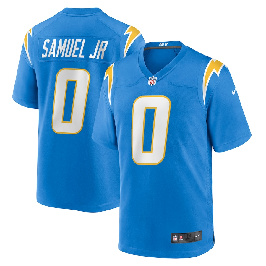 Wholesale Custom Mens Los Angeles Chargers 0 Asante Samuel Jr. Nike Powder Blue 2021 NFL Draft Pick Player Game Jersey