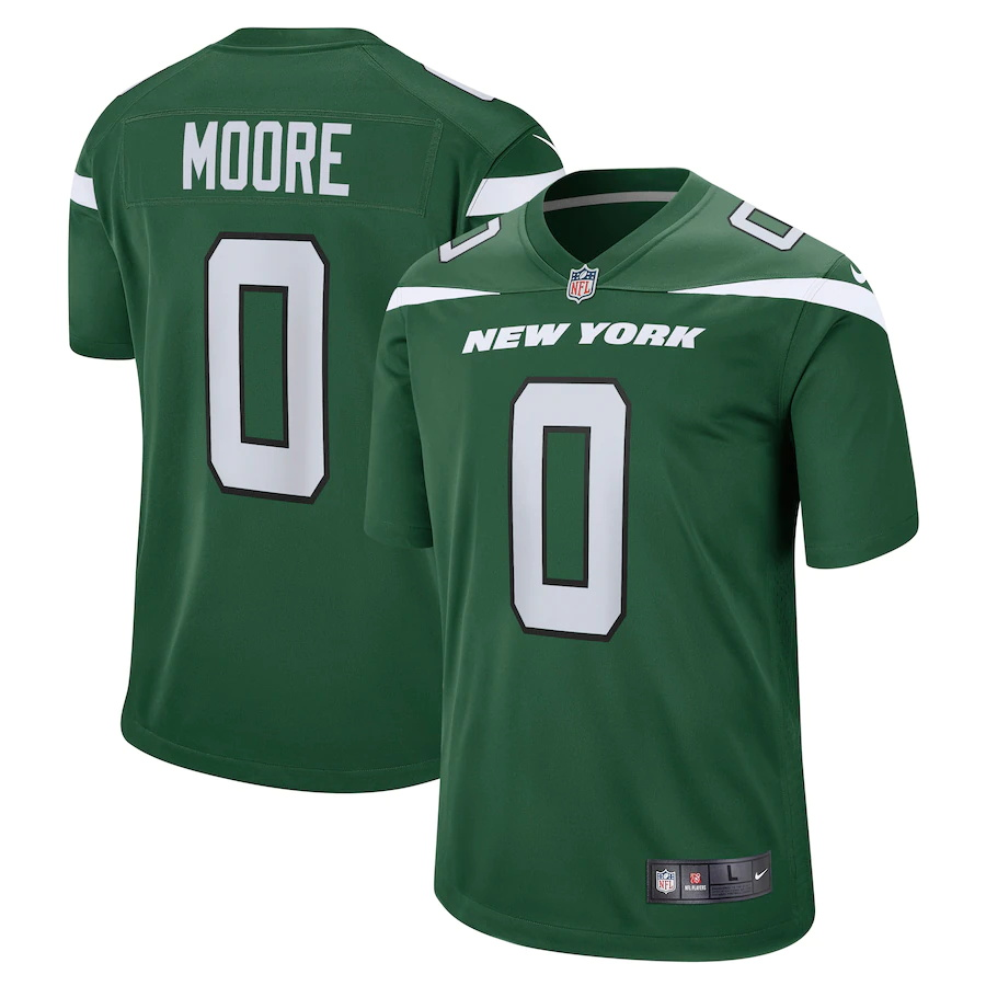 Cheap Custom Mens New York Jets 0 Elijah Moore Nike Gotham Green 2021 NFL Draft Pick Player Game Jersey