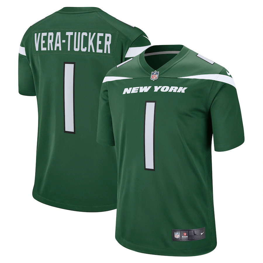 Cheap Custom Mens New York Jets 1 Alijah Vera-Tucker Nike Gotham Green 2021 NFL Draft First Round Pick Game Jersey