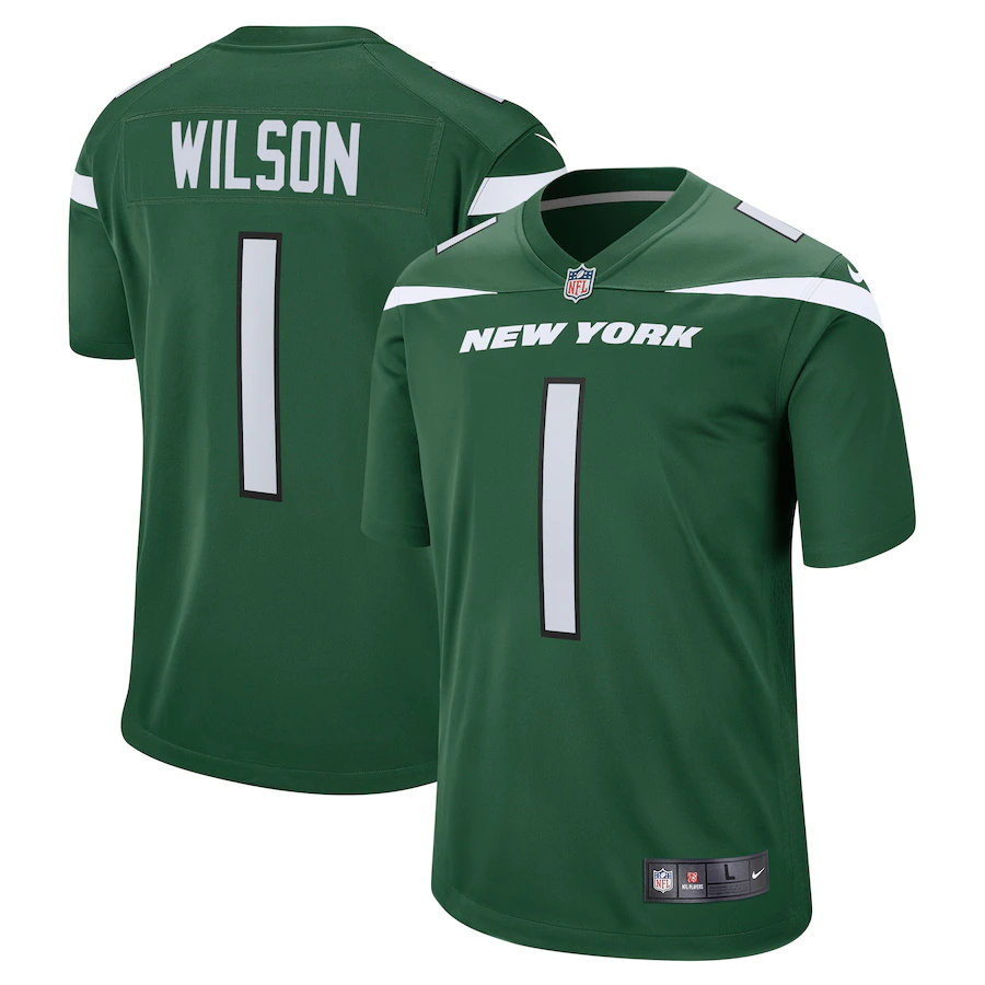 Cheap Custom Mens New York Jets 1 Zach Wilson Nike Gotham Green 2021 NFL Draft First Round Pick Game Jersey