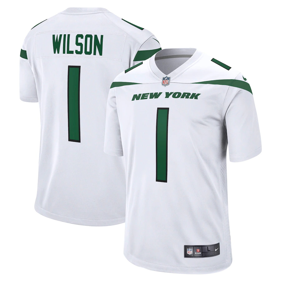 Cheap Custom Mens New York Jets 1 Zach Wilson Nike White 2021 NFL Draft First Round Pick Game Jersey