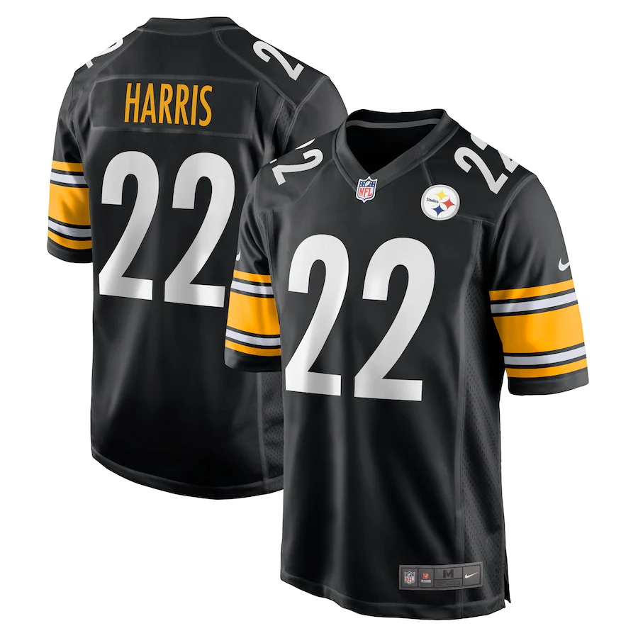 Cheap Custom Mens Pittsburgh Steelers 22 Najee Harris Nike Black 2021 NFL Draft First Round Pick Game Jersey
