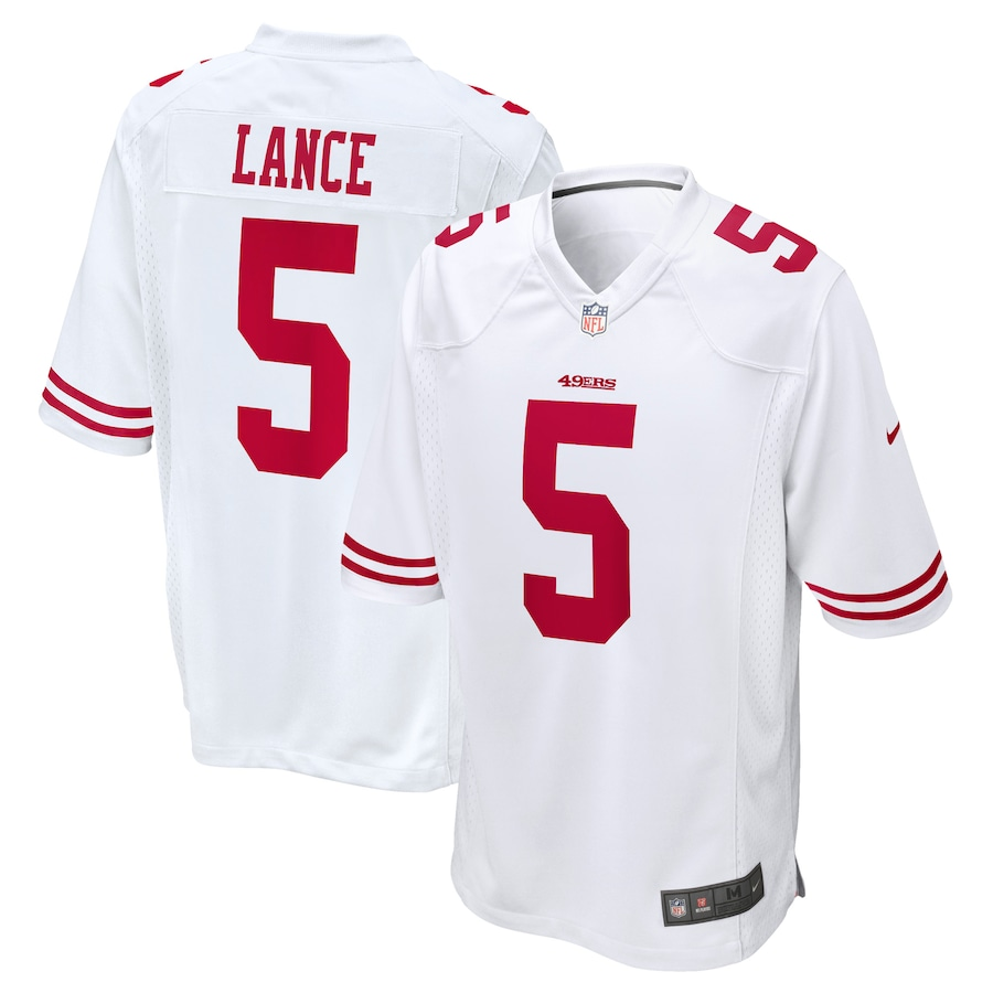 Cheap Custom Mens San Francisco 49ers 5 Trey Lance Nike White 2021 NFL Draft First Round Pick Game Jersey