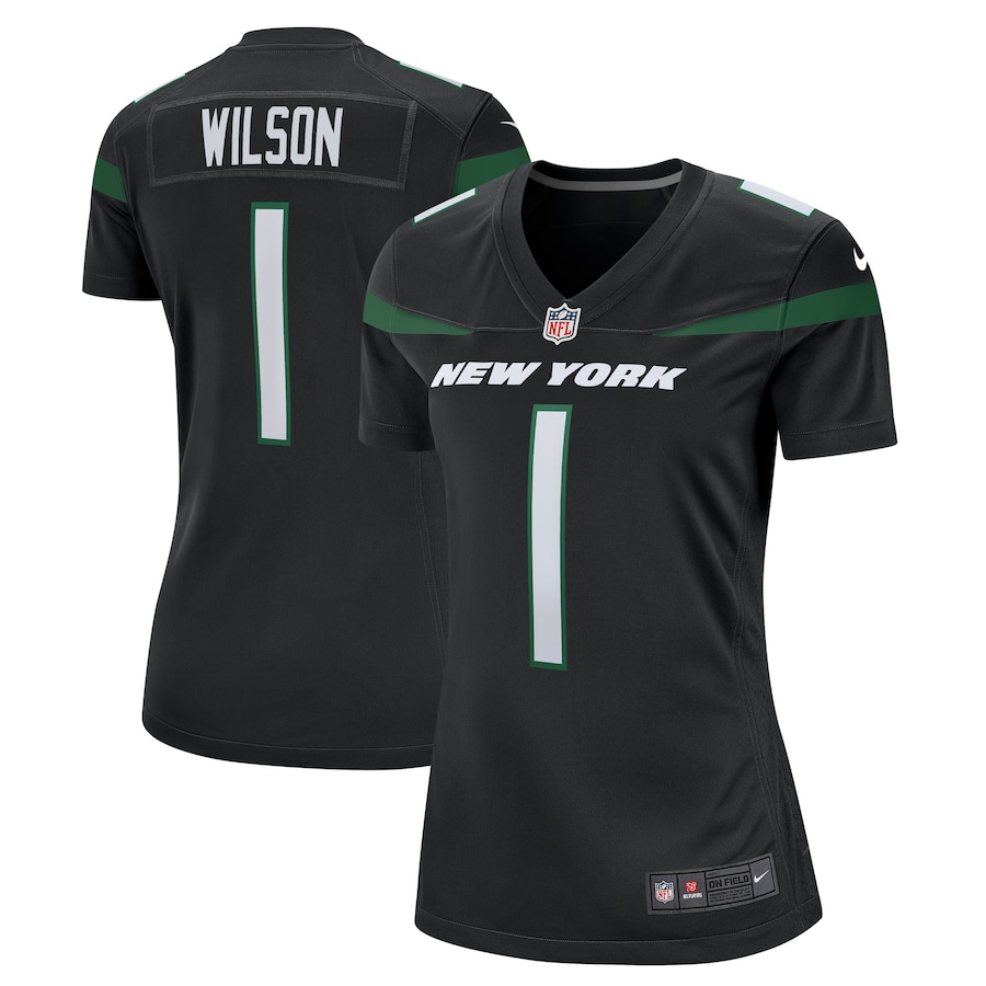 Cheap Custom Womens 1 Zach Wilson New York Jets Nike Black Alternate 2021 NFL Draft First Round Pick Game Jersey