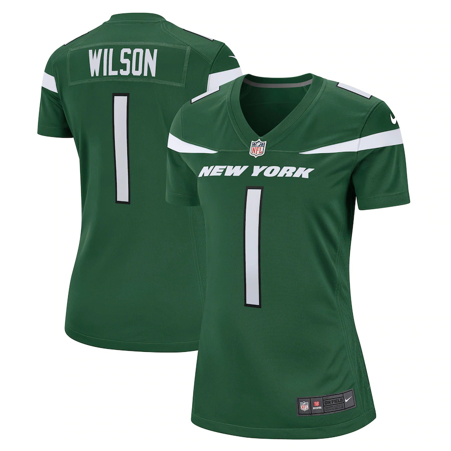 Cheap Custom Womens New York Jets 1 Zach Wilson Nike Gotham Green 2021 NFL Draft First Round Pick Game Jersey