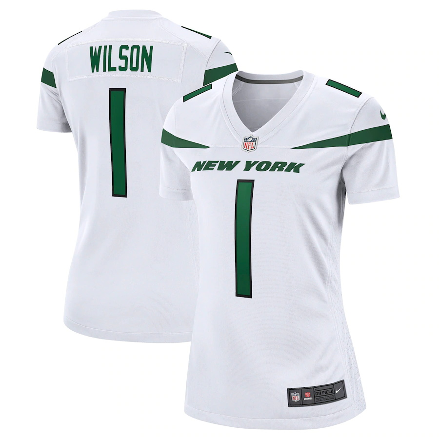 Wholesale Custom Womens New York Jets 1 Zach Wilson Nike White 2021 NFL Draft First Round Pick Game Jersey