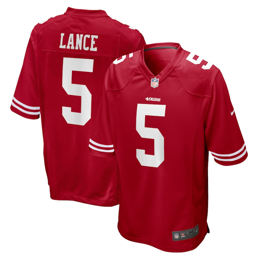 Cheap Custom Youth San Francisco 49ers 5 Trey Lance Nike Scarlet 2021 NFL Draft First Round Pick Game Jersey