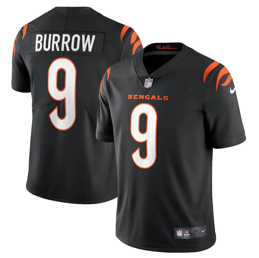 Cheap Men Cincinnati Bengals 9 Joe Burrow Nike Black Vapor Limited NFL Jersey