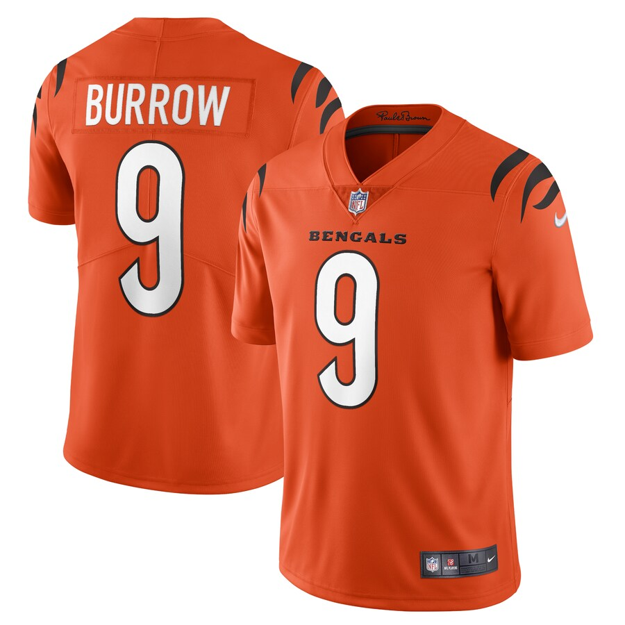 Cheap Men Cincinnati Bengals 9 Joe Burrow Nike Orange Alternate Vapor Limited NFL Jersey