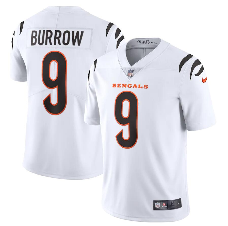 Cheap Men Cincinnati Bengals 9 Joe Burrow Nike White Vapor Limited NFL Jersey