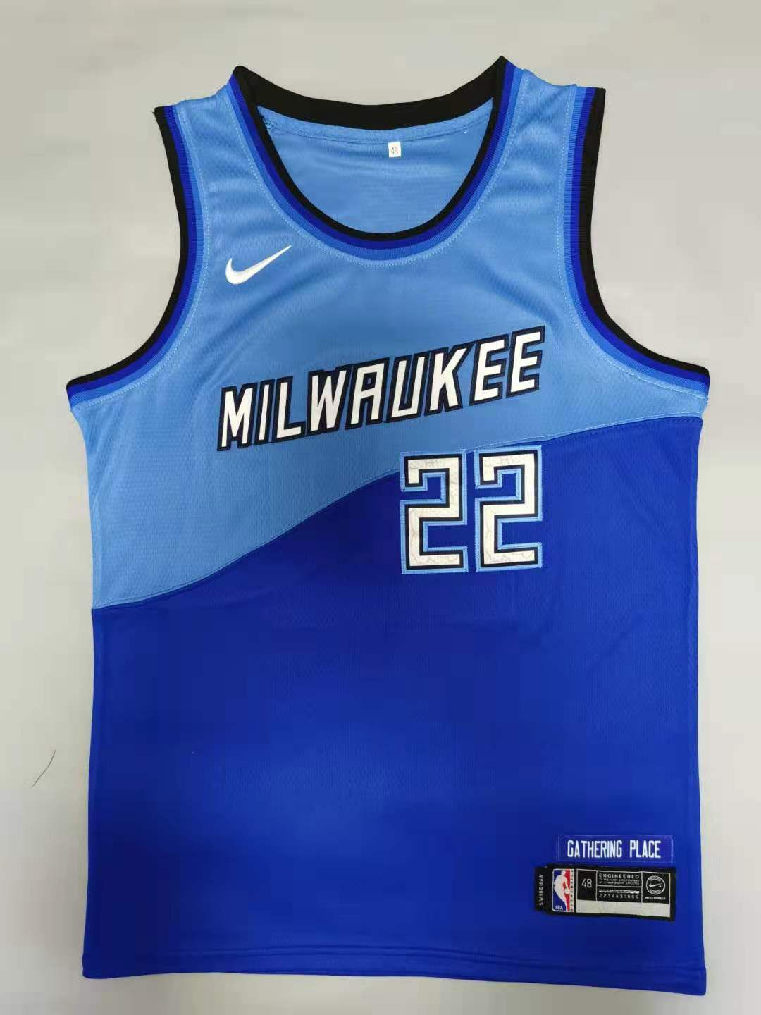Cheap Men Milwaukee Bucks 22 Middleton Blue 2021 Nike Game NBA Jersey