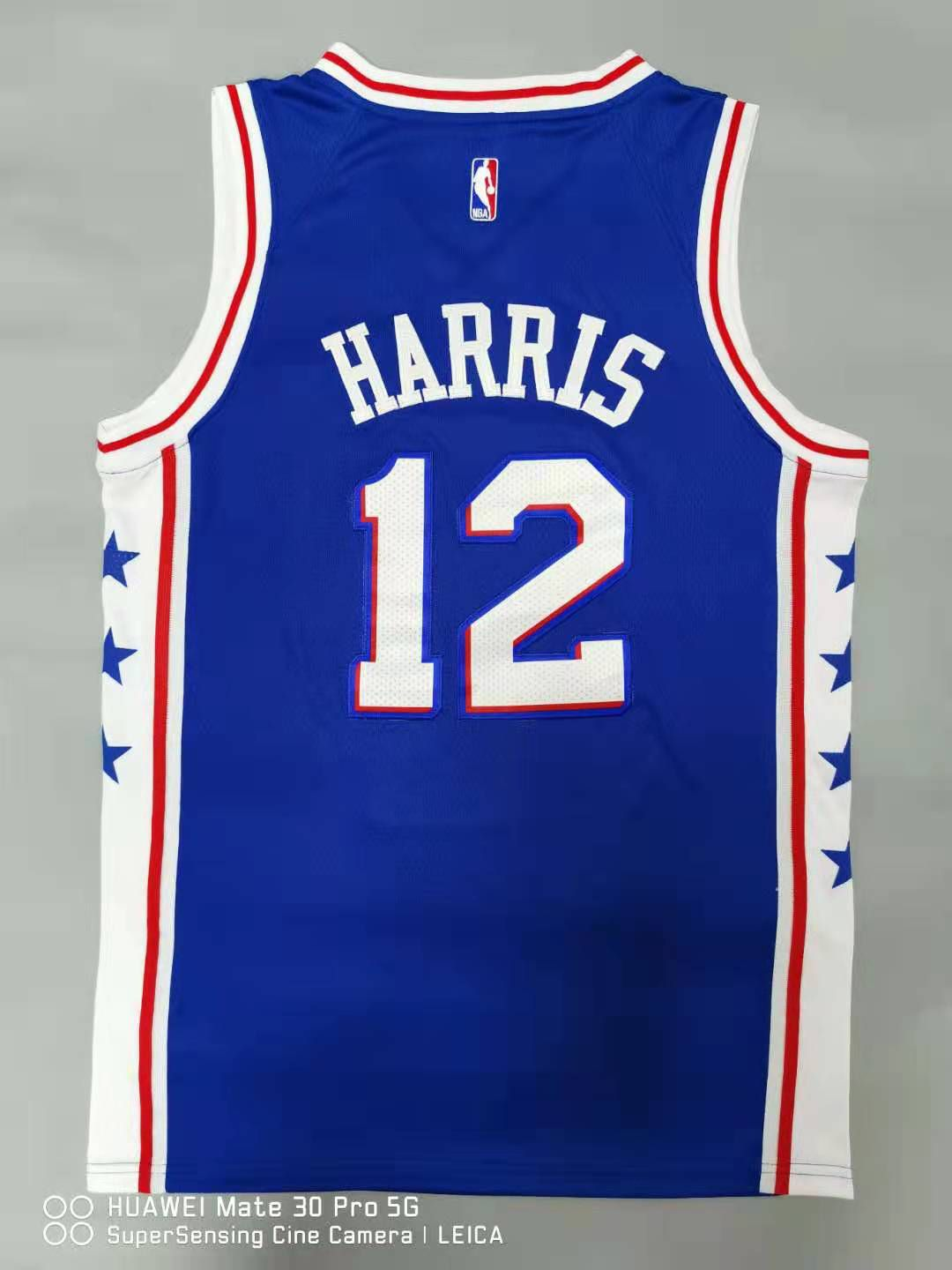 Cheap Men Philadelphia 76ers 12 Harris Blue 2021 Nike Game NBA Jersey
