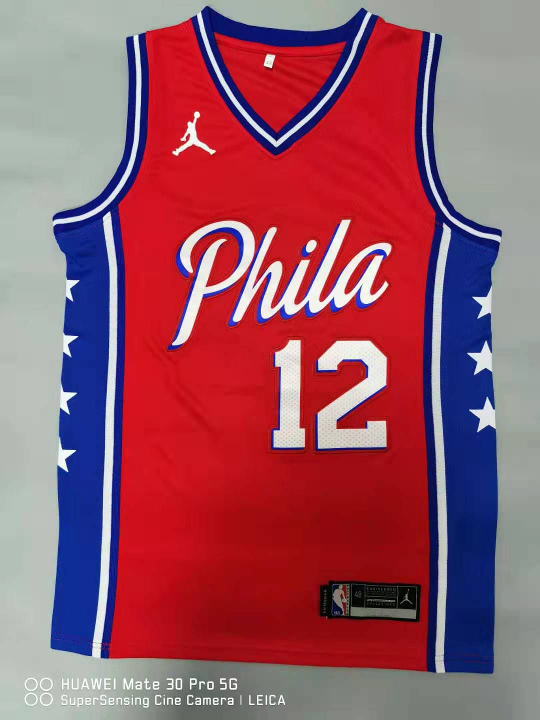 Cheap Men Philadelphia 76ers 12 Harris Red 2021 Game NBA Jersey