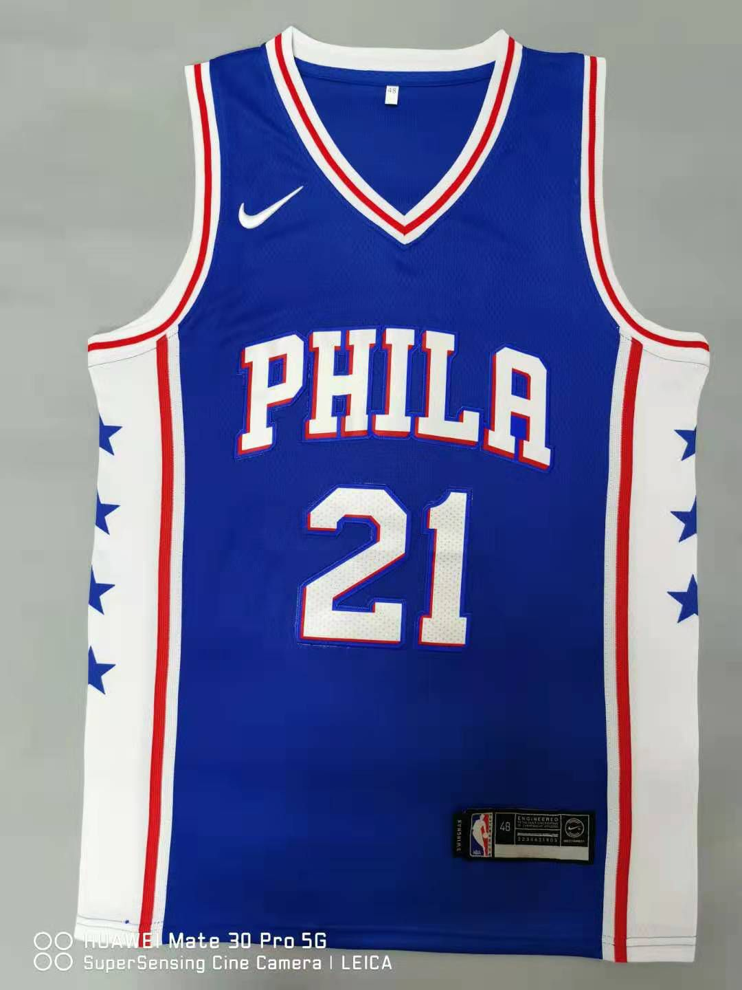 Cheap Men Philadelphia 76ers 21 Embiid Blue 2021 Nike Game NBA Jersey