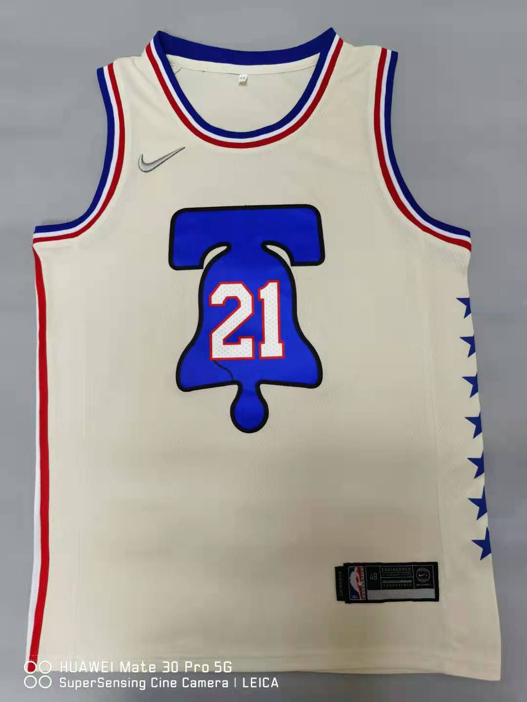 Cheap Men Philadelphia 76ers 21 Embiid Cream 2021 Nike Game NBA Jersey
