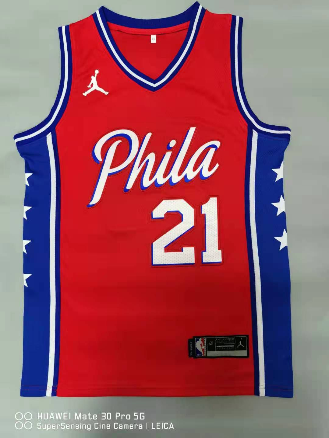 Cheap Men Philadelphia 76ers 21 Embiid Red 2021 Game NBA Jersey