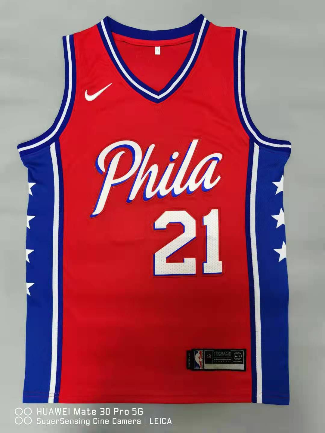 Cheap Men Philadelphia 76ers 21 Embiid Red 2021 Nike Game NBA Jersey