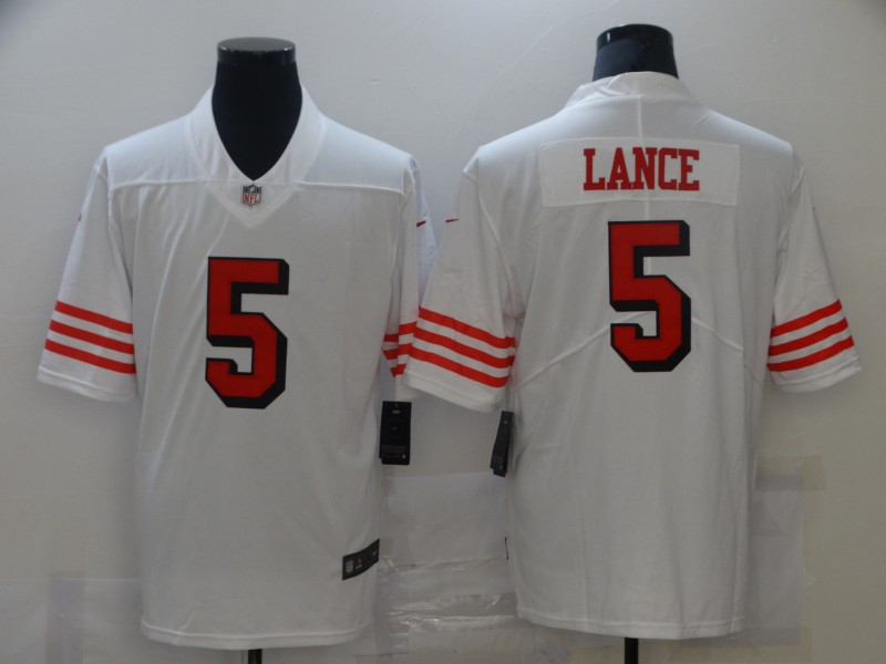 Cheap Men San Francisco 49ers 5 Lance White New Nike Vapor Untouchable Limited 2021 NFL Jersey