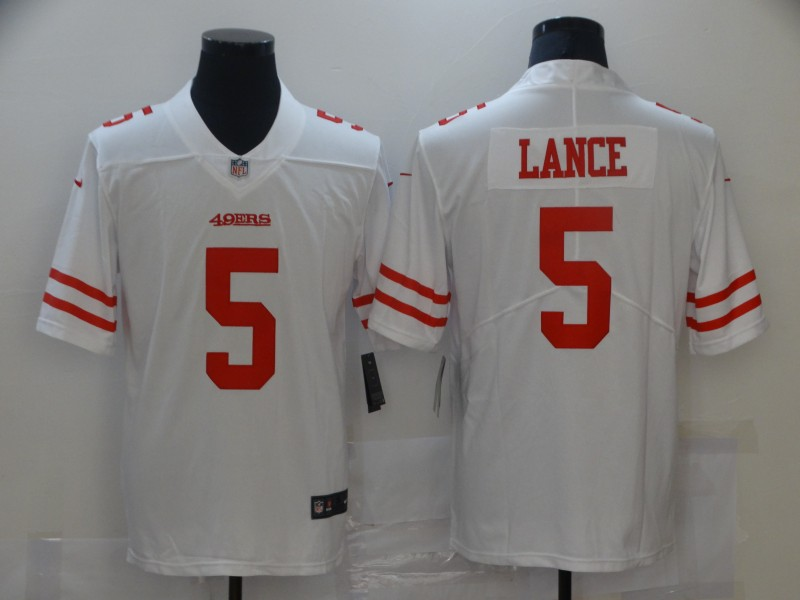 Cheap Men San Francisco 49ers 5 Lance White Nike Vapor Untouchable Limited 2021 NFL Jersey