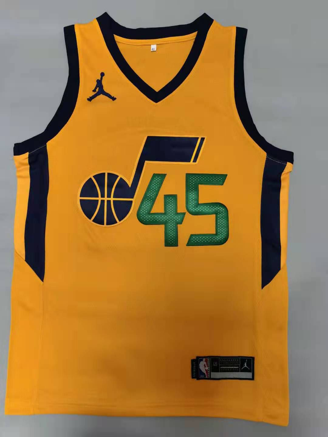 Cheap Men Utah Jazz 45 Mitchell Yellow 2021 Game NBA Jerseys