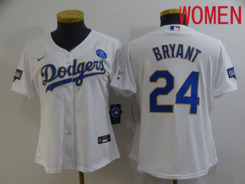 Cheap Women Los Angeles Dodgers 24 Bryant White Game 2021 Nike MLB Jersey1