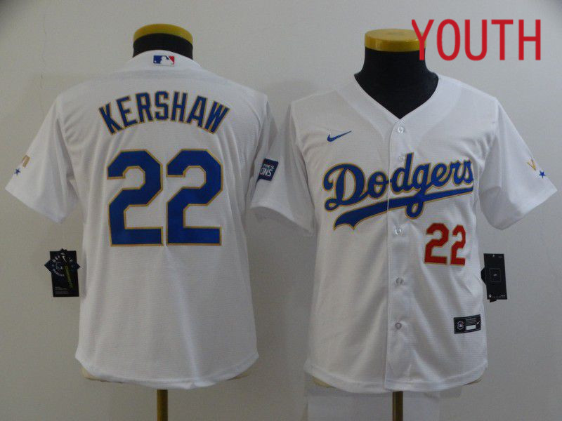 Cheap Youth Los Angeles Dodgers 22 Kershaw White Game 2021 Nike MLB Jersey1