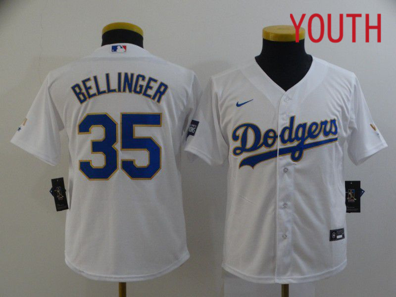 Cheap Youth Los Angeles Dodgers 35 Bellinger White Game 2021 Nike MLB Jersey1