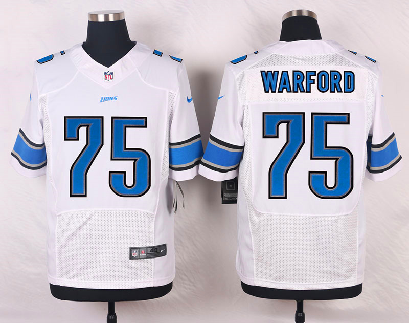 NFL Customize Detroit Lions 75 Warford White Men Nike Elite Jerseys