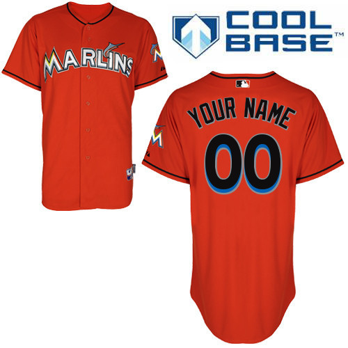 MLB Customize Miami Marlins red Jerseys