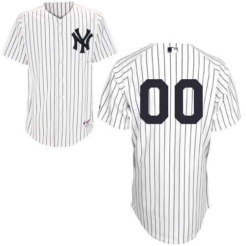 MLB Customize New York Yankees White with black strips Jerseys