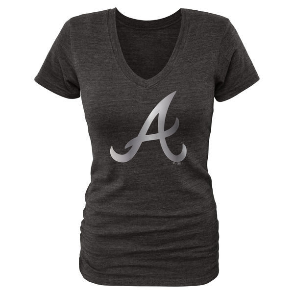 2016 Atlanta Braves Fanatics Apparel Women's Platinum Collection V-Neck Tri-Blend T-Shirt Black